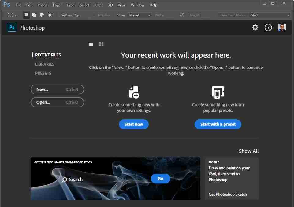 Photoshop CC 2015 Start Workspace
