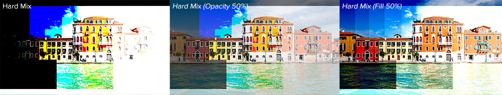 Hard Mix Blending Mode Opacity vs Fill Sample