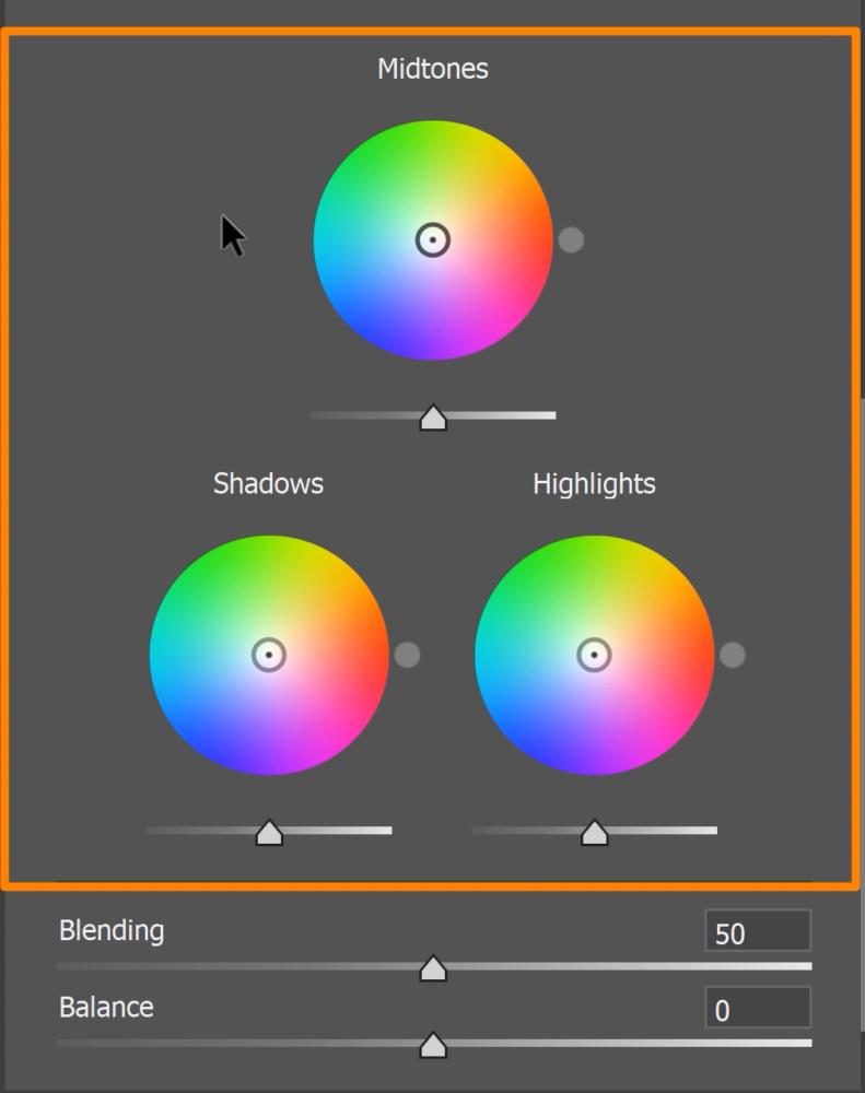 Color Grading tab