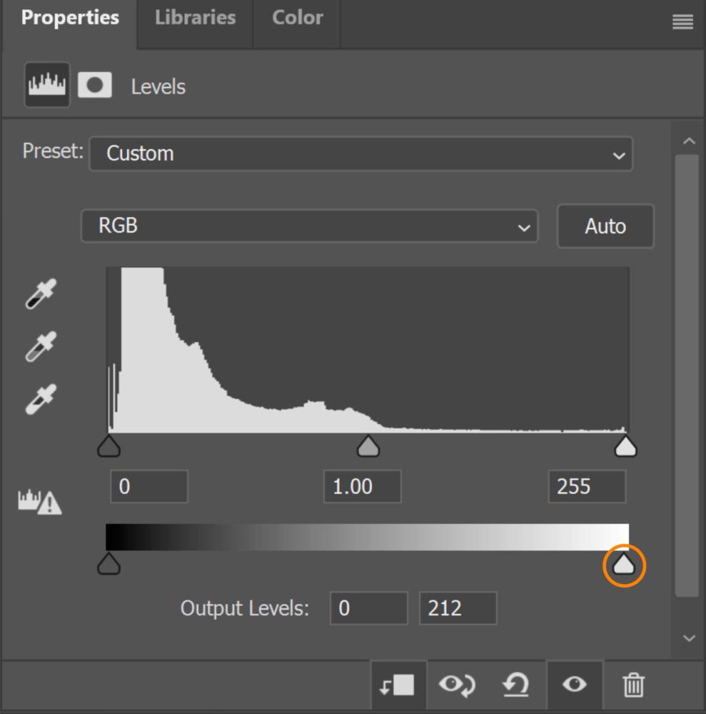 Adjust the white output level