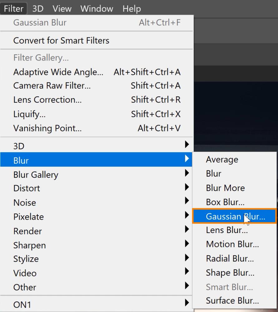 Choose Filter > Blur > Gaussian Blur